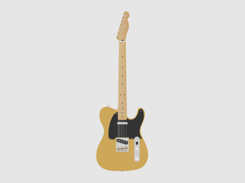 Fender Telecaster Electric Guitar Illustration By Alex Johnson