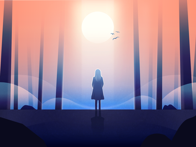Social Distancing lonely alone sun light coronavirus covid-19 fog trees landscape atmospheric forest woman illustration