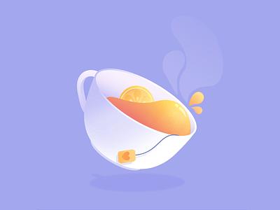 Earl Grey liquid lemon affinity drink drawtober design vectorart texture illustration vector tea inktober