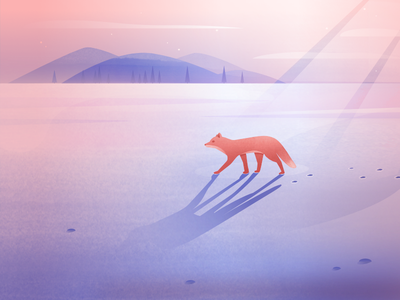 The Nomad nomad alone trees mountain clouds snowing landscape ice snow fox illustration ixdbelfast