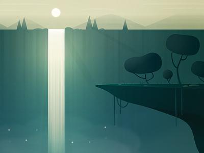 Enjoy the Journey sky water nature light sun rays sun trees waterfall design green illustration ixdbelfast