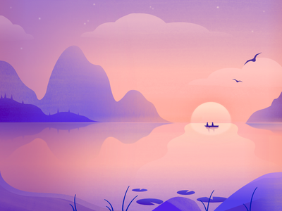 Over the Sea, Under the Sky boat sun sky birds mountains sea lake atmospheric environment design illustration ixdbelfast