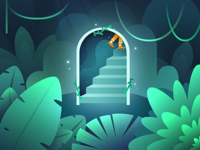 The Portal scene atmospheric ivy vines light magic portal climb person stairs woods forest nature plants affinity design blue green illustration ixdbelfast