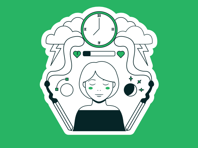 Make Your Mark Kickstarter- Burnout storm kickstarter line match women time mental health burnout book design green illustration ixdbelfast