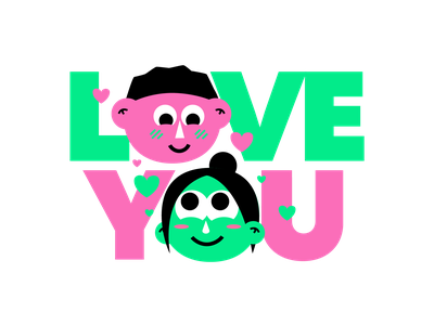 Mushy Love Sticker faces graphic design goodtype type art type design couple love you love face cartoon illustrated type typography type stickermule cute illustration sticker