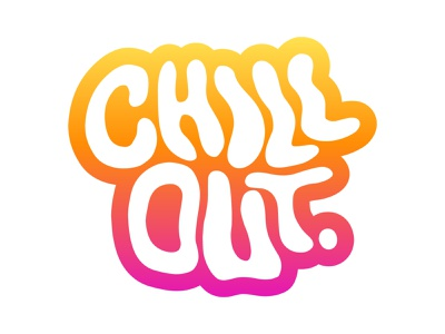 Chill Out - Charm for Dribbble Playoff stickermule beach sunset gradient procreate illustrator keychain charm sticker typography type lettering chill chill out