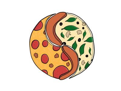 Vin Yang sticker stickermule pizza