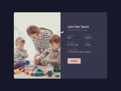 DailyUI 001 - Au pair agency sign up screen