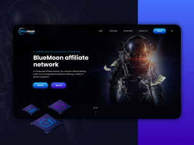 Blue Moon - web concept modern web design black clean design marcinprojekt.com behance galactic app blue webdesign inspiration dark galaxy moon website