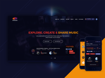 web music - create & share track music app ui colorful web design design music art app website ui ux clean webdesign music app music design phone