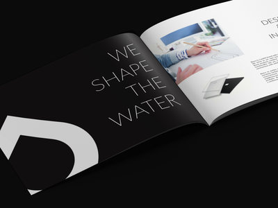 BESCO shape water design bathroom bath blue brochure design black  white modern pantone print inspiration clean black brochure