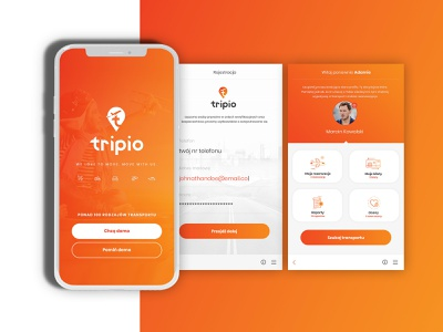 Travelling app agency marcinprojekt.com tripio adobexd design application clean mobile webdesign travel app orange travel agency travel app design app travelling