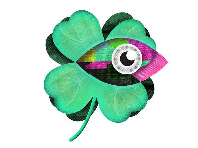 Luck logotype multicolor graphic clover eye icon design illustration geometric vector vec logo graphic design