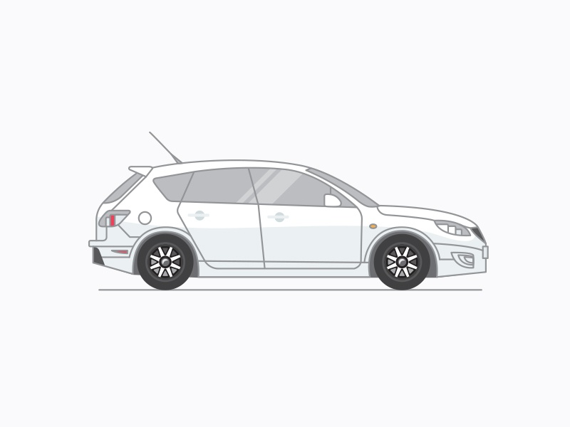Mazda 3 Hatchback illustration flat vehicle design icon car hatchback 3 mazda