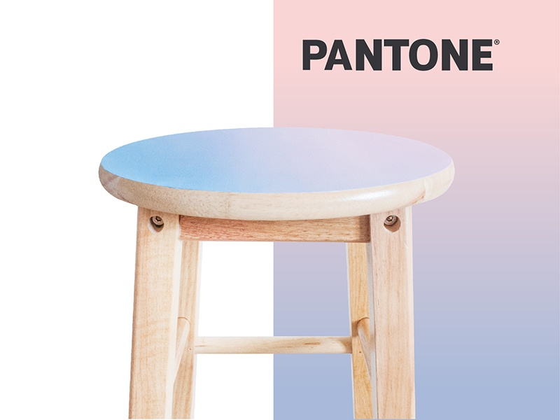 Painted Pantone Stool hand painted wood paint serenity quartz rose 2016 stool pantone