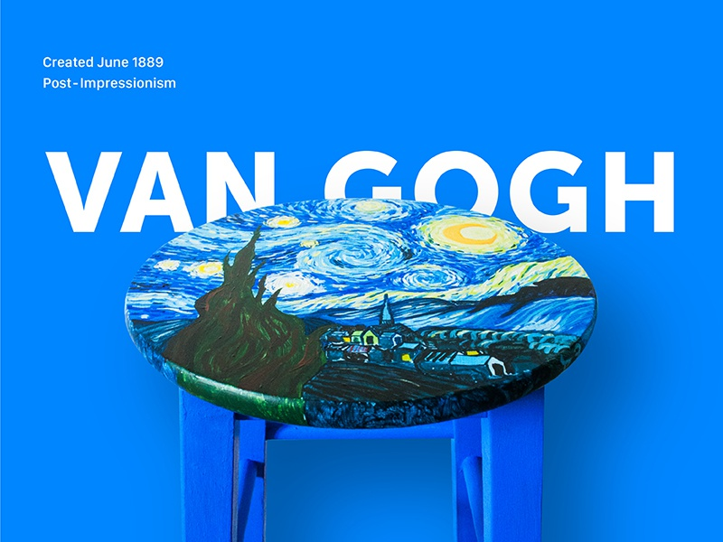 Hand Painted Starry Night Stool blue wood art post-impressionism stool paint hand painted van gogh