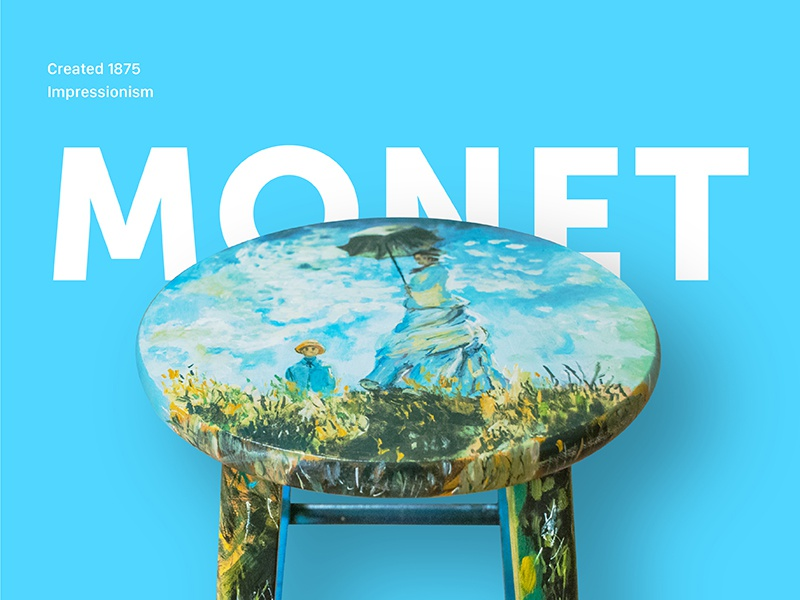 Hand Painted Monet Stool wood stool impressionism handmade paint hand painted blue art monet