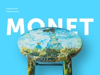 Hand Painted Monet Stool