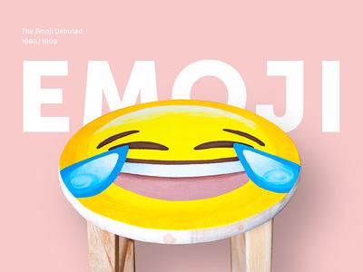 Hand Painted Emoji Stool