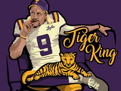 Joe Burrow Tiger King netflix concept sports design illustration parody national football league zoo tiger nfl tiger king ncaa louisiana lsu joe exotic football
