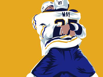 Brad May • Buffalo Sabres illustrator may day 90s sports 90s vintage hockey nhl buffalo sabres sabres illustration design buffalo sports
