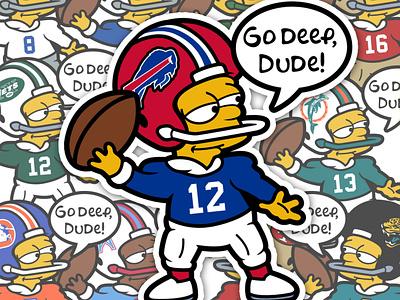 Bart Simpson NFL cartoon retro 90s bart simpson the simpsons buffalo vector football national football league nfl sports