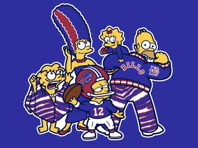 The Simpsons Buffalo Bills Mafia cartoon 90s vintage retro homer simpson bart simpson simpsons the simpsons illustration buffalo vector football national football league nfl sports