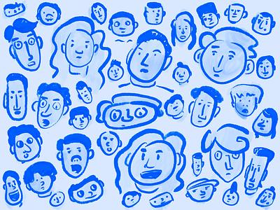 Ink Sketch's illustration sketching blue faces crowd portraits ink