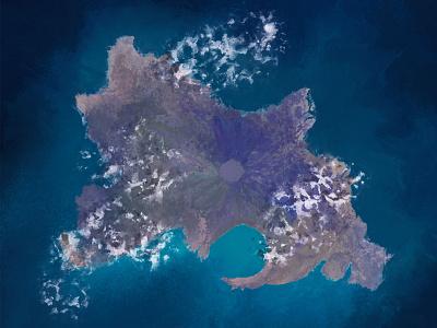 Oceanic Island ariel aerial view waves tides ocean digital painting painting procreate illustraion volcanoes volcano tropical islands island
