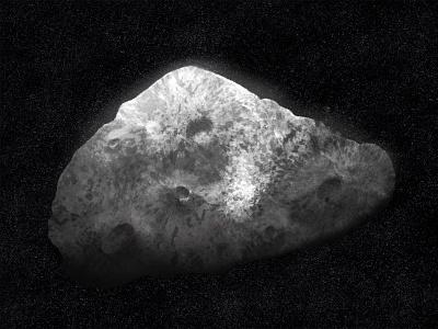 Asteroid astronomy procreate stars blackandwhite cosmos universe illustration solar system digital painting meteorite astronaut asteroids asteroid space
