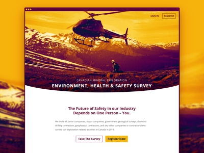 Canadian Mineral Exploration Survey british columbia canada gradient gradient map landing page website website design survey helicopter safety mining exploration mining cdda amebc