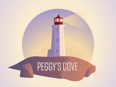Peggys Cove sunset sunrise nova scotia illustration lighthouse peggys cove
