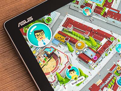 Cityopia - Interactive city game tablet manhattan uxui interactive game map city