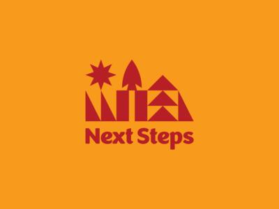 Next Steps Capital Campaign summer camp brand vector badge geometric logotype lockup illustration branding logo camp