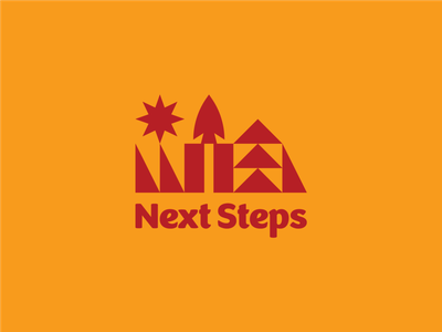 Next Steps Capital Campaign summer camp brand vector badge geometric logotype lockup illustration branding logo camp