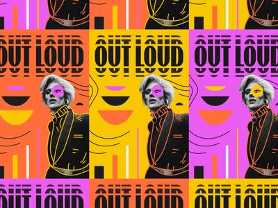 OUT LOUD lockup lgbt brand lettering typography logotype geometric branding illustration type logo