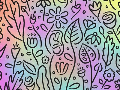 spring has sprung pregnant leaf gradient baby botanicals flower flowers spring design illustration