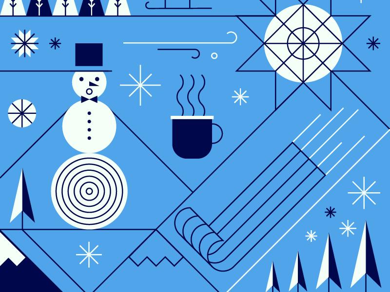 Winter Solstice ice star sled illustration line mountain tree snowman snowflake snow winter