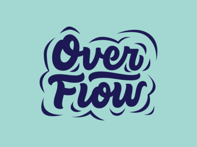 Overflow splash logotype outdoors summer camp water lettering logo overflow