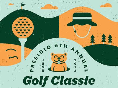 Golf Classic lockup logo illustration animal gopher fore tee caddyshack hat tournament classic golf