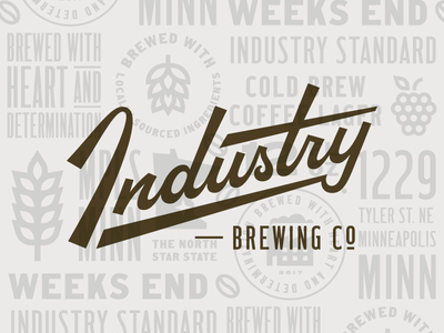 Industry Brewing Co. lockup script factory mn type lettering logo branding brand brewery brewing beer