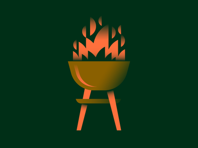 Work Hard Grill Hard fire flame geometic vector art burger weekend holiday gradient illustration labor day bbq grill