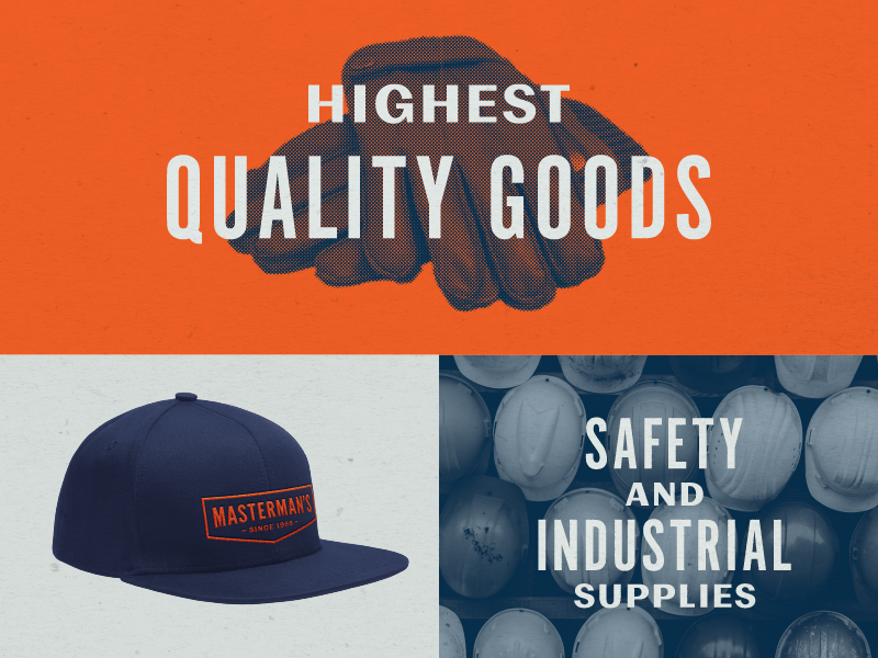 Masterman's brand assets blue collar retro industrial badge hat brand identity lockup typography branding brand type