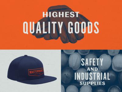 Masterman's brand assets blue collar retro industrial badge hat brand identity lockup typography branding brand type