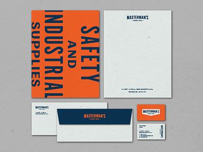 Masterman's Collateral industrial logotype badge identity branding brand letterhead envelope business card lockup type logo