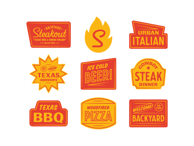 Backyard Steakout 1.2 logotype americana italian texas restaraunt mark badge lockup branding logo type bbq