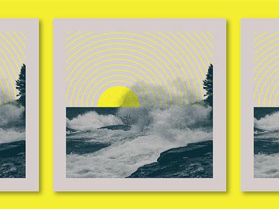 Gitche Gumee vibes sunset illustration texture wave photo lake superior sun
