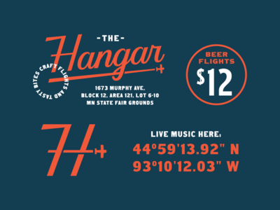 The Hangar Reject 1.3 badge typography branding logotype lockup type logo restaraunt beer venue music aviation