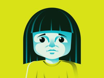 Girl Illo book kid adoption vector gradient childrens book illustration