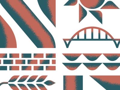 Shapes of NE brick ne brewery beer sun bridge geometric screen print texture mpls poster illustration